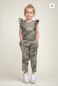 12 pm - Kids full length camo french terry ruffled sleeve jumpsuit