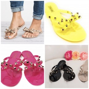 Victoria Adames - Jelly sandal with bow and spike detail