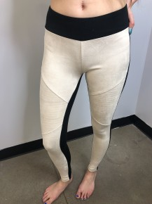 Ivory suede moto style leggings with black waistband and back side