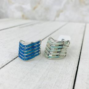 10 BLUE OPAL ARROW RING IN STERLING SILVER