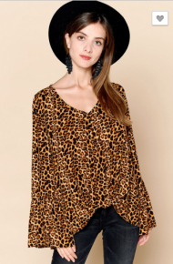 Tan cheetah print top with long bell sleeves and knot at front bottom