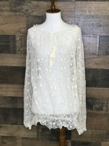 Natural see thru embroidered lace off shoulder top