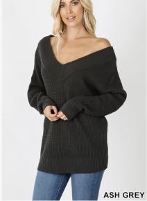 Long sleeve wide double v neck waffle sweater