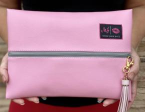 Makeup Junkie Pale Pink Bag with Grey Zipper