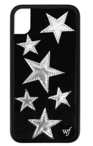 Wildflower Black Velvet silver star iphone case