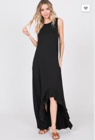 Heimish- Sleeveless solid ruffled hi low maxi dress