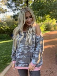 Easel- Long sleeve cold shoulder camo top