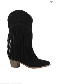 black mid high boots w/ fringe detail