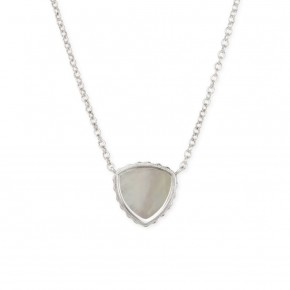 Sterling Silver Trillion Necklace In Mother of Pearl in Gold or Silver