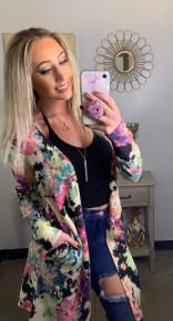 Honeyme- Long soft floral cardigan with pockets