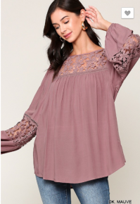 Gigio - 3/4 balloon sleeve top with crochet detail