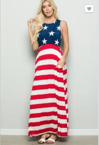 Nadia- Round neck American flag print maxi dress