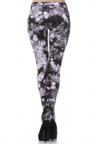 Black and white tie dye skinny jeans with distressed detail