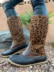 Miami shoe- Leopard print rainboots with zipper in back