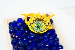 evil eye yellow adjustable fabric bracelet