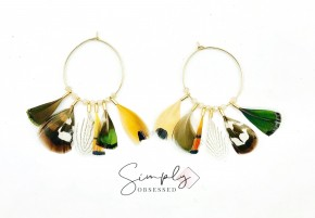 Gold Hoop earrings with beads and feathers