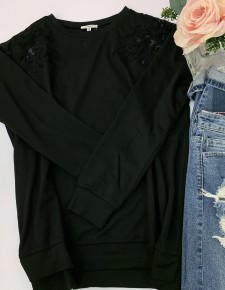 Jodifl- Long sleeve top with lace shoulder detail