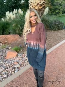 PEACH LOVE CALIFORNIA- Front cutout tie dye long sleeve knit dress