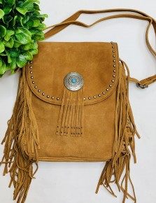 Concealed carry leather fringed crossbody purse with zipper compartments