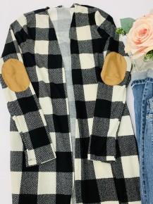 White Birch- Plaid knit cardigan with side pockets