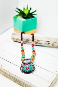 Charlene K Vintage Nepal Tribal Gemstone Statement Necklace