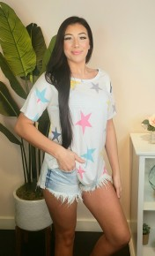 Hopely- Multi colored star top with round neck