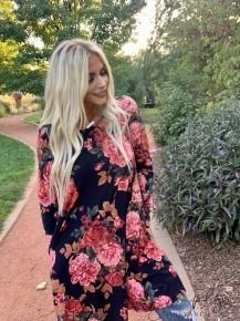 Honeyme - Bulgari dress w/ long sleeves and floral design