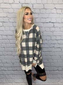 Honeyme-Plaid checkered long sleeve top