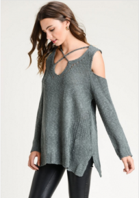 Kale solid lightly distressed knit sweater with strappy detail