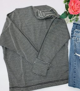 White Birch- Long sleeve striped knit top with a boat neck featuring zipper detail