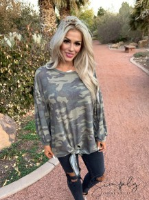 JODIFL-Babydoll camo print top with tie-bottom front