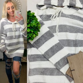 ANDREE- Plus long sleeve striped hoodie sweater