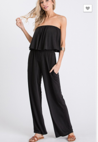 Nadia- Tube top solid ruffled jumpsuit with side pocket