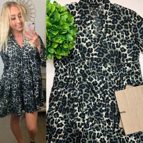 Heyson- Leopard 3/4 sleeve dress with bell sleeves