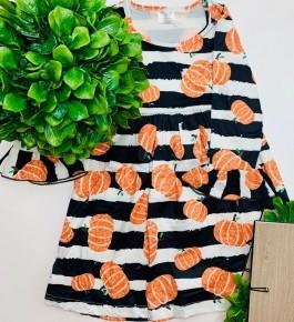 Pumpkin stripe bell sleeve dress