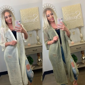 Crochet mesh knit open duster cardigan with elbow sleeve featuring raw edge seam finishing detail