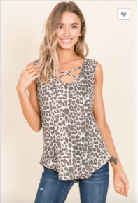 Bombom - Casual criss cross front animal print sleeveless top