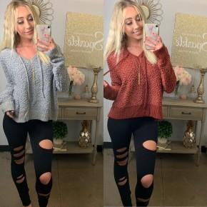 Mohair pullover hoodie dress