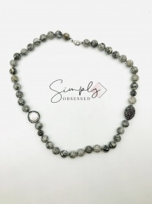 Black Netstone Necklace With Mother Of Pearl and Pave Beads