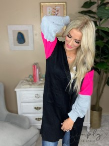 HONEYME-Long open-knit cardigan sweater with side pockets