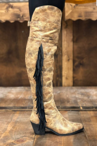 Lucky & Blessed- Printed knee-high boots with fringe and zipper