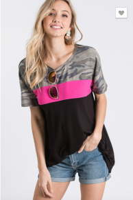 Heimish- Short sleeve round neck solid and camo top