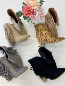 CCOCCI- Fringe point toe heel booties