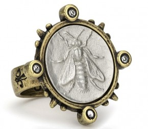 French Kande Brass Spiked Ring With Matte Silver Mini Abeille Medallion & Swarovski Cabs