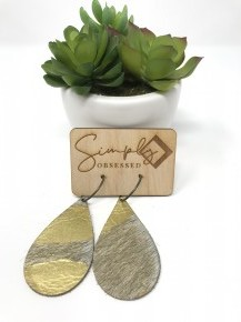 Gold Stripped Leather Earrings