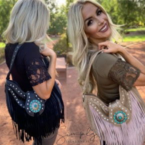 C & S Trading- Fringed leather purse with turquoise buckle and concealed carry