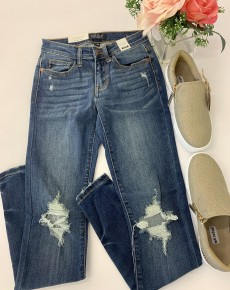Judy Blue- Destroyed skinnies with hem tacking