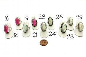 Pink or White Opal Sterling Silver Ring