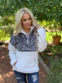 Vanilla Bay- Long sleeve leopard contrast quarter zip sweatshirt with pocket detail