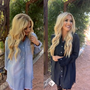 Francis Cabrel- Denim button up solid tunic dress